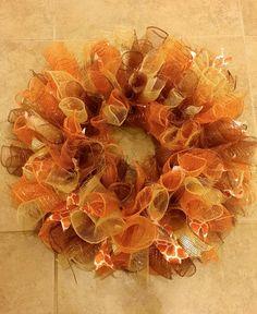 Fall Deco Mesh Wreath, Autumn Wreath, Thanksgiving Decoration, Curly Deco Mesh Wreath, Thanksgiving Wreath