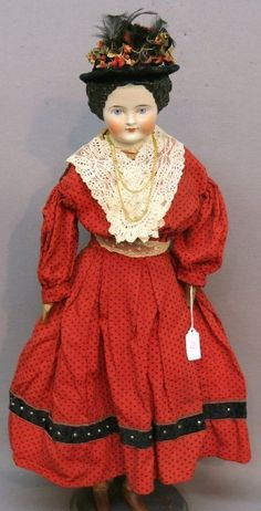RARE Wooden Limbs 1800's Antique Flat Top China Head German Doll 24"