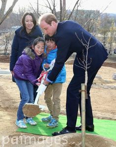 Prince William, The Duke of Cambridge plants a tree at Smile Kid's Park in Koriyama