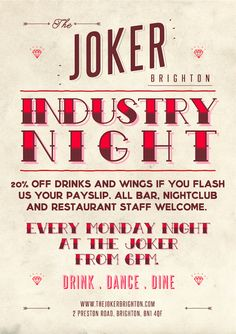 Industry night every Mon at the Joker pub Brighton