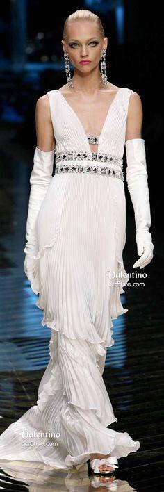 Fashion*Dresses   Rosamaria G Frangini    White Gemstone Embellished Pleated Valentino Evening Gown