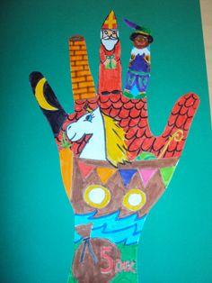 Je hand omtrekken en dan alles wat met het thema te maken heeft erin tekenen!! Super leuk om te doen!
