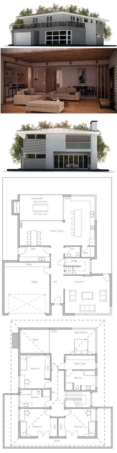 House Plans in Modern Architecture. House Arch Design, Home Building Design, Modern Architects, Sims House, House Layouts, House Goals, House Floor Plans, Architecture Details, My Dream Home