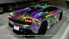 Pimped-out with LED lights Lambo in Tokyo.