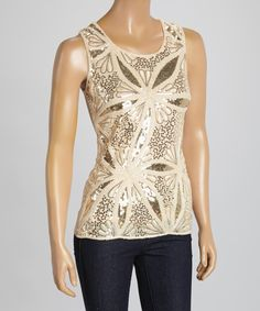 Look what I found on #zulily! Caramel Floral Sequin Silk-Blend Sleeveless Top by Pretty Angel #zulilyfinds
