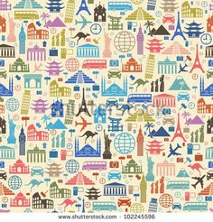 Seamless vector Wallpapers or background travel, vacation, famous places