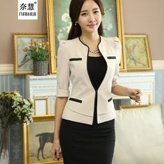 2 Pieces Set New style Apricot Half Sleeve Suit formal Office work wear blazer with skirt women's professional skirt suits sets Black Skirt Suit, Skirt Suit Set, Suit Fashion, Fashion Outfits, Look Formal, Formal Wear Women, Mode Mantel, Corporate Attire, Professional Women