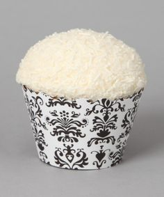 Take a look at this Bella Cupcake White Lulu Damask Cupcake Wrappers - Set of 24 by Crazy for Cupcakes Collection on #zulily today!