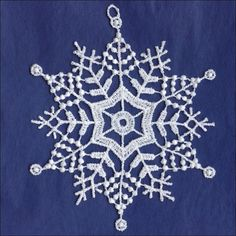 Woven from stiff thread, this delicate but sturdy white lace snowflake makes a beautiful addition to Christmas trees and holiday decorations. It