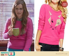 Betsey's pink fox sweater on The Mindy Project. Outfit Details: http://wornontv.net/24694 #TheMindyProject #fashion