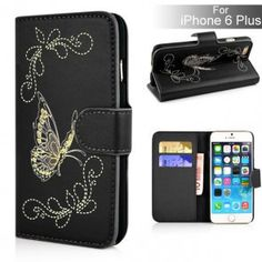 Butterfly Pattern Magnetic Leather Flip Stand Case with Card Slot for iPhone 6 Plus - Black