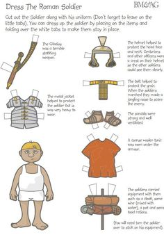 Paper doll of a Roman Soldier provided by the group Castra Ferrata in the Pacific Northwest. Rome Activities, Bible Activities, Ancient Rome, Ancient History, Romans Ks2, The Romans, Romans For Kids, Tapestry Of Grace, Roman History