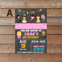 Party invitations to be printed for your little ones birthday. Provide me with the details for your customized invitation. Childs name: Age: Party address: Party time and date: RSVP info: Style A is sized 5x7 Style B is sized 7x5  This listing is for a digital printable file to be sent to you as a digital JPEG for printing. No physical product will be sent. All images will be in 300dpi for high quality print results.  I will send you the sample proof within 24 hours from ordering. Colors may…