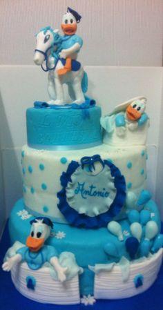 Baby donald duck, baptism cake, torta con paperini, palloncini