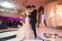 A Beautiful Indian Wedding At The Royal York Hotel - White dance floor with custom monogram!