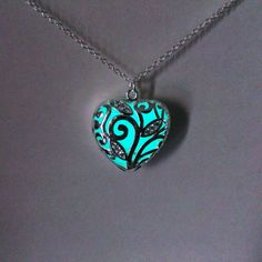 Aqua Glowing Necklace, Glowing Jewelry, Glow in the Dark Heart Pendant, Gift for Her, Valentines Day £16.00