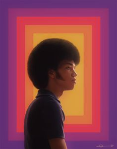 Zeke, drawn in PS. [Caption: A realistic digital painting of Zeke from The Get Down. Portrait is in profile from the waist up. Zeke is wearing a blue polo shirt. He has a large afro and thick...