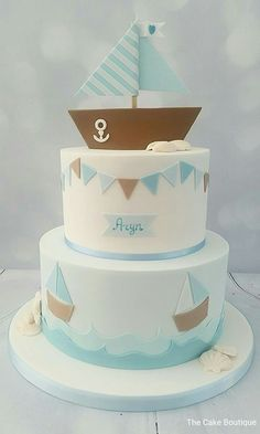 diy birthday cake for boys Nautical theme little boy cake Little Boy Cakes, Cakes For Boys, Nautical Cake, Nautical Theme, Sailor Cake, Sea Cakes, Pink Cakes, Diy Birthday Banner, Birthday Gifts