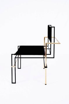 The Casbah chair, inspired by Laszlo Moholy-Nagy's photograms, is all linear balance, gravity and angular movement. A complex tubular brass structure frames a natural vachetta leather seat and back sling that will age gracefully with time and use.