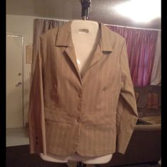 """White House Black Market Blazer White House Black Market Blazer is 55% Rayon 23% Nylon 16% Polyester and 6% Spandex. Size Medium.  The colors are: Tan/Beige/Blue Striping. Laying flat Arm to Arm is """"17.5. The Length is """"25. This item has signs of wear on ends of both sleeves.  There is fraying. The last photo has been zoomed in to show detail. This Blazer is in Good condition, Authentic and from a Smoke And Pet free home. All Offers through the offer button ONLY. I Will not negotiate Price…"""