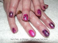 CND Shellac with glitter, foil and hand painted nail art