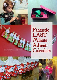 Super Simple Last Minute Advent Calendars. You can start these any day before Christmas – do a countdown after the kids get out of school, or for the days until you leave on your vacation – it's doesn't have to start December 1st.