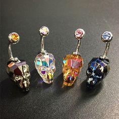 Cut from Swarovski Crystal in the shape of a Skull, internally threaded and hand polished these navel/belly curves are beautiful unique and amazing!  Buy Here - http://csbodypiercing.com/product/swarovski-crystal-element-cut-skull-navelbelly/