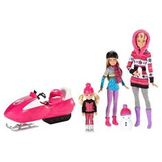 Barbie, Stacie and Chelsea dolls are dressed in seasonal clothing and come with a snowmobile for Barbie doll and a snowman for Stacie doll and Chelsea doll, plus a hot cocoa to warm them up. Play out all kinds of snowy adventures and family bonding moments. Put on Barbie doll's pink helmet, and she's ready to go for a ride on her pink snowmobile. Stacie doll and Chelsea doll can have fun building a snowman. The three sister dolls are prepared for the cold with chill outfits and access...