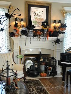 Take a look at this Eclectic Halloween Mantle from Serendipity Redefined. I love the crow with the witch hat! 31 Inspiring Halloween Mantles and Tablescapes to dress up your home this October Season on Frugal Coupon Living.