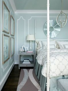 aqua and gray in bedroom