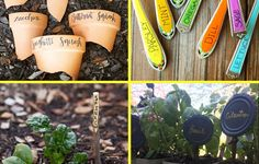 These eye-catching, recycled plant markers bring a little whimsy to the garden.What do gardeners do on rainy days? Dream up more ways to make their gardens look even more beautiful, of course! Garden Labels, Plant Labels, Greenhouse Gardening, Container Gardening, Gardening Courses, Plant Markers, Good Housekeeping, Growing Flowers, Nature Crafts