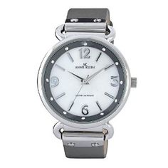 Anne Klein Women's 109651MPGY Swarovski Crystal Silver-Tone Mother-Of-Pearl Dial Grey Leather Strap Watch (Watch) | click image for more information or to buy it