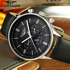 Mens Watches Top Brand Luxury GUANQIN Quartz Watch Men Military Sport Leather Wristwatch Fashion Male Clock relogio masculino