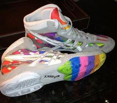 check out e6db2 5fe15 One of a kind Asics Split Seconds Rainbow wrestling shoes!