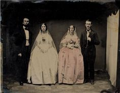 ca. 1865, Two Unidentified Brides and Two Unidentified Grooms