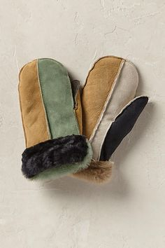 Patchwork Shearling Mittens. Mix and matches patches to create the perfect pair of mittens! Each pair is one of a kind and ideal for a more personal present.