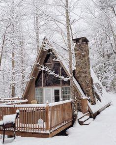 snow, stone chimney - Home Design Inspiration A Frame Cabin, A Frame House, Little Cabin, Little Houses, Cabin Homes, Log Homes, Tiny Homes, Stone Chimney, Winter Cabin