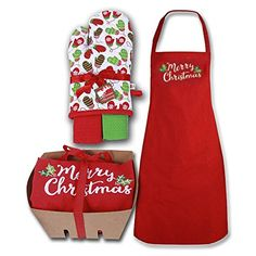Red Merry Chistmas Apron with Oven Mit and Dishtow…