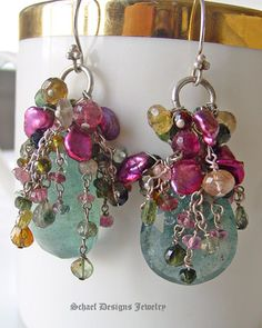 Large Moss Aquamarine Briloettes topped with Shaded Tourmalines in Pink, Green, Gold and Rose and Raspberry Keishi Perals | Sterling Silver | Luxe Gemstone Dangle Earrings |Schaef Designs Gemstone & Pearl Jewelry | online jewelry boutique | San Diego, CA   Love this jewelry boutique site. Most inspiring~~