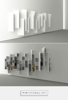 From a particular angle, this construction looks nothing like a bookshelf, but rather a minimalistic art installation. As the shelves are constructed diagonally, you can see the books from one side only. (Designer: Victor Vasilev) - created via http://pinthemall.net