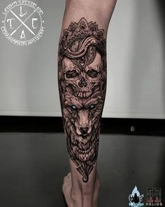 Skull and wolf mandala/geo blackwork calf piece on miss Georgina Insta: Fb: leighstca For all bookings an enquiries contact me directly at my Fb page: leighstca Sponsored by: . Wolf Tattoos, Forarm Tattoos, Cool Forearm Tattoos, Skull Tattoos, Body Art Tattoos, Girl Tattoos, Tattoos For Guys, Buddha Tattoos, Maori Tattoos
