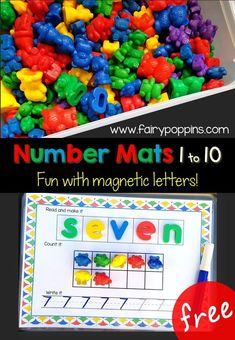 These free number mats help kids to count and write numbers up to ten. They feature numbers for kids to trace and ten frames to support counting. Kids can also build the number words with magnetic letters. Great for preschool and kindergarten. #countingactivities #numberactivities #preschoolmath #kindergartenmath Kindergarten Teachers, Numbers Kindergarten, Teaching Numbers, Math Classroom, Writing Numbers, Math Activities, Teaching Math, Learning Numbers Preschool, Teaching Aids