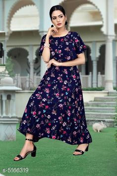 Checkout this latest Dresses Product Name: *Printed Navy Blue Calf-Length Crepe Dress* Fabric: Crepe Sleeve Length: Short Sleeves Pattern: Printed Multipack: 1 Sizes: S, M (Bust Size: 38 in, Length Size: 50 in)  L (Bust Size: 40 in, Length Size: 50 in)  XL (Bust Size: 42 in, Length Size: 50 in)  XXL (Bust Size: 44 in, Length Size: 50 in)  Country of Origin: India Easy Returns Available In Case Of Any Issue   Catalog Rating: ★4 (1836)  Catalog Name: Chitrarekha Fashionable American Crepe Women'S Dresses CatalogID_763467 C79-SC1025 Code: 513-5166319-828