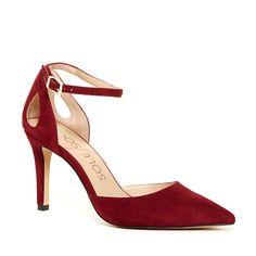 Women's Crimson Suede 3 1/4 Inch Pointed Toe Suede Heel | Cadena by Sole Society