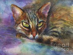 Intense realistic watercolor Bengal cat painting by Svetlana Novikova, www.SvetlanaNovikova.com
