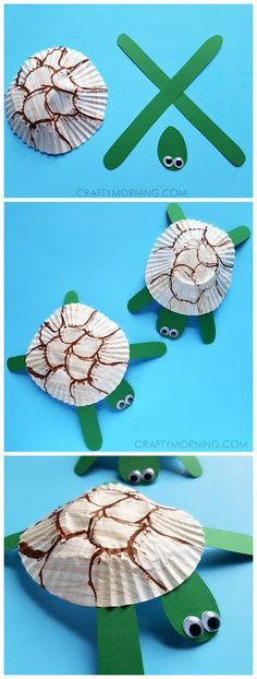Such cute cupcake liner turtle craft for kids! Could make it for an ocean theme art project.
