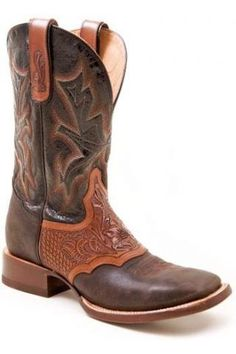Men's Brown Two Tone Handtooled Saddle Vamp Crown Men S Stetso Western Clothing
