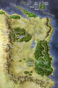 Map of The Fantasy world of Calliome from Wings of Twilight Fantasy Map Making, Fantasy World Map, Fantasy Places, Dnd World Map, Map Symbols, Imaginary Maps, Medieval, Rpg Map, Vintage Maps