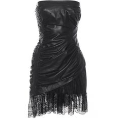 SLY 010 Bustier Lace Black Leather mini dress with lace hem ($1,925) ❤ liked on Polyvore featuring dresses, short dresses, short lace cocktail dress, sexy cocktail dresses, lace mini dress, leather bustier and sexy bustier