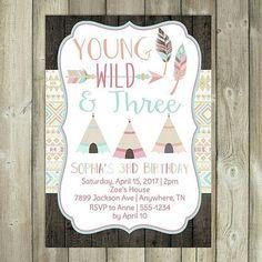 Young Wild Three Birthday Invitation Boho Girls Third